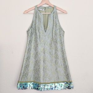 KAY UNGER NEW YORK Paisley Sequin Dress M